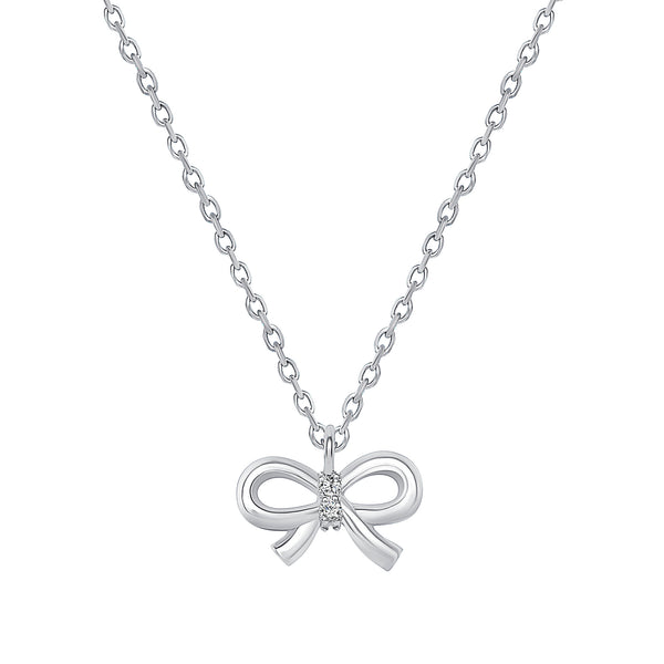 14K  White Gold Ribbon Pendant Necklace