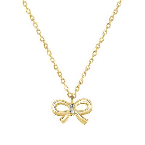 14K  Yellow Gold Ribbon Pendant Necklace