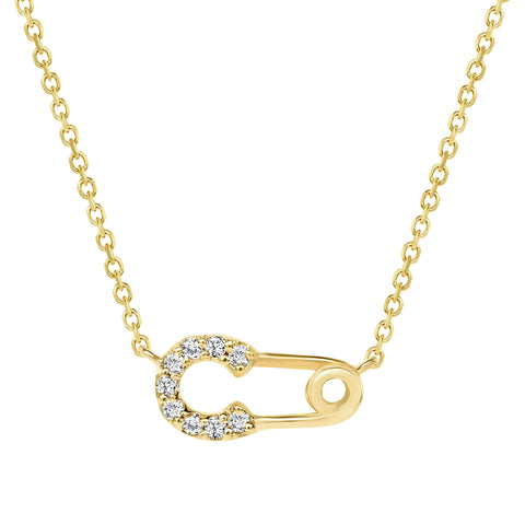14K Yellow Gold Diamond Safety Pin Pendant Necklace
