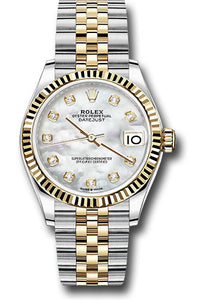 Rolex Steel and Yellow Gold Datejust 31 Watch - Fluted Bezel - Mother of Pearl Diamond Dial - Jubilee Bracelet