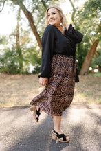 Load image into Gallery viewer, We See The Magic Pleated Animal Print Midi Skirt