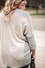 Load image into Gallery viewer, It's Total Love Gray Striped Boyfriend Top