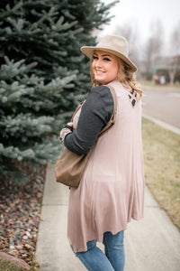 Life Of The Party Sleeveless Cardigan In Shimmering Mauve