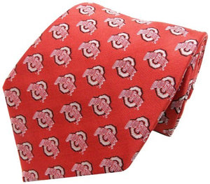 Ohio State Buckeyes Repeating Primary Necktie, Scarlet/Grey