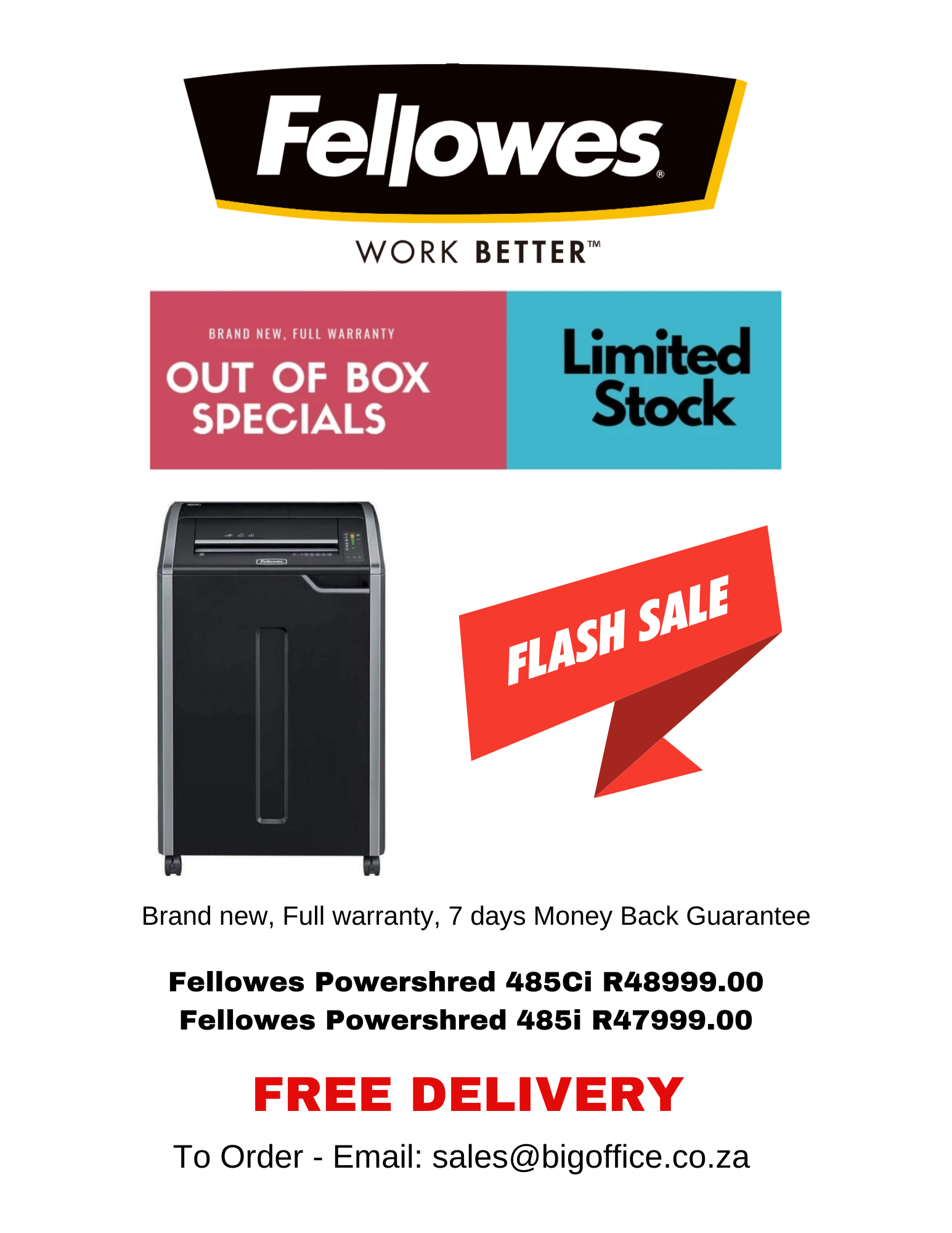 Fellowes Powershred 485i & 485Ci Out of box Special