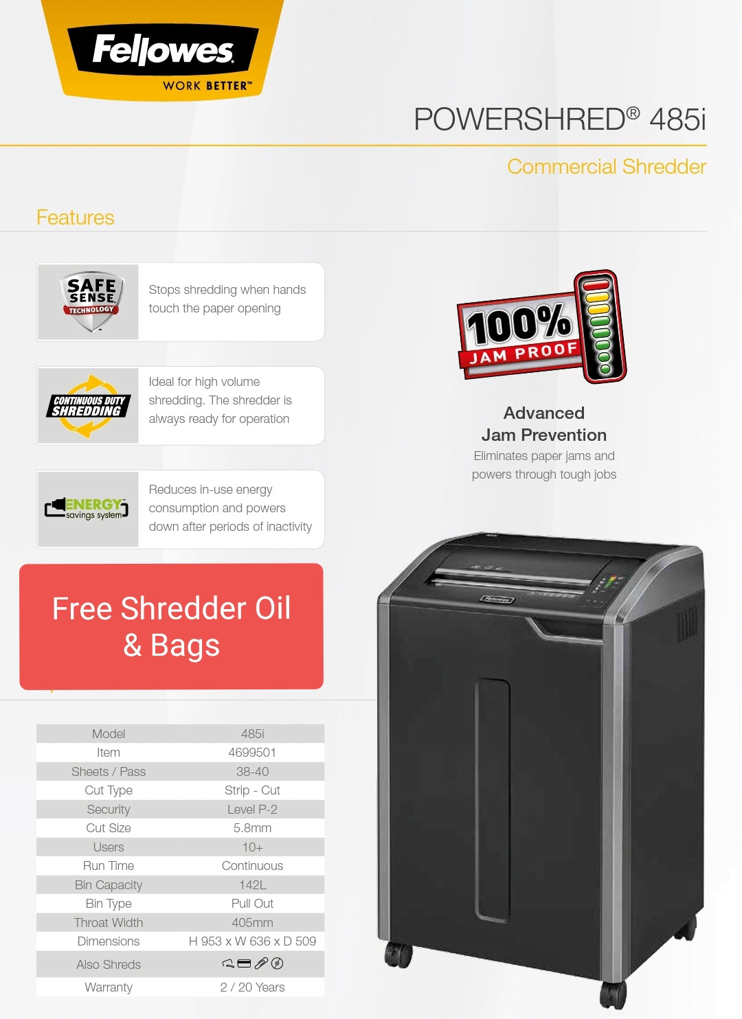 Fellowes Powershred 485i Shredder - Bigoffice.co.za