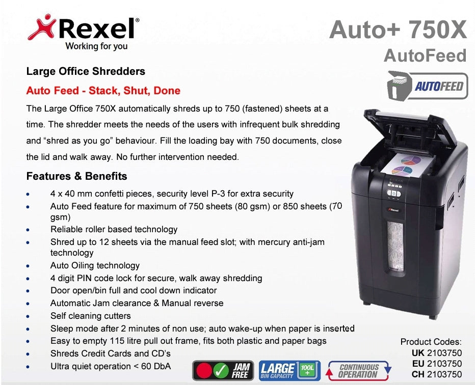 Rexel Auto+ 750X Shredders - Bigoffice.co.za