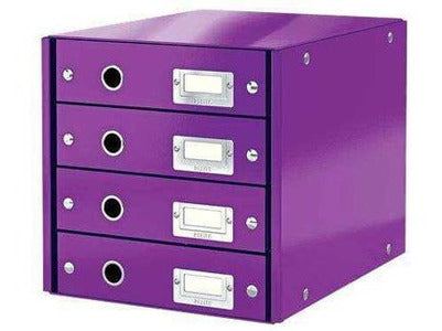 Leitz Drawer Cabinet 4 Drawers Purple - Bigoffice.co.za