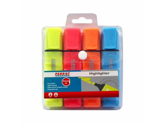 Marker Highlighter Pouch 4 (Yellow, Pink, Blue, Orange) - Bigoffice.co.za