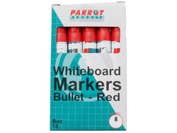 MARKER WHITEBOARD BULLET BOX 10 RED - Bigoffice.co.za