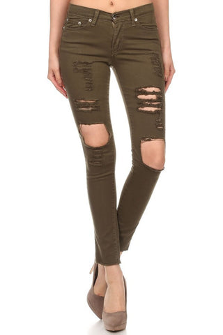 Army Green Distressed Skinny Jean