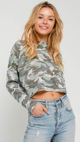 Green Camo Cropped Sweater