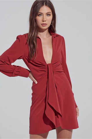 Long sleeve button down shirt dress