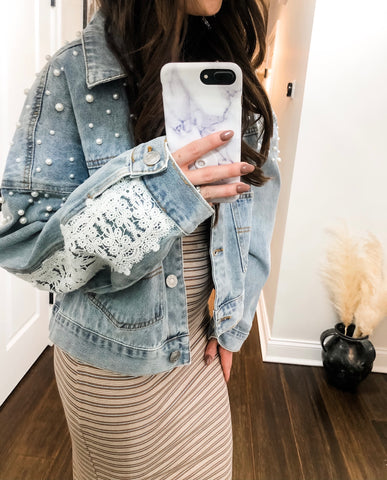 Denim Pearl & Lace Jacket