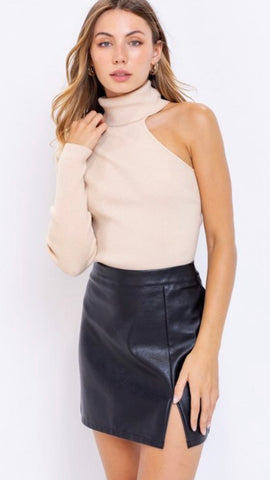One shoulder mock-neck sweater