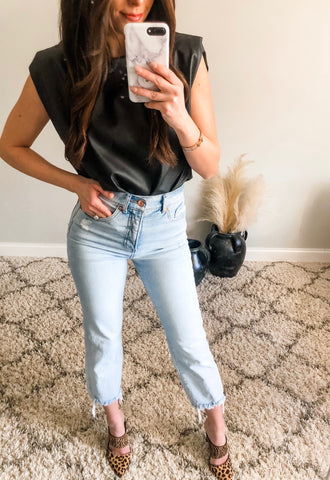 Leather Sleeveless Top