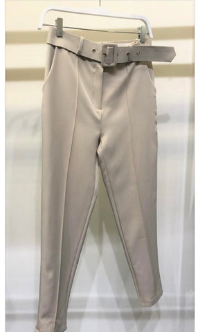 Beige Slim Dress Pants