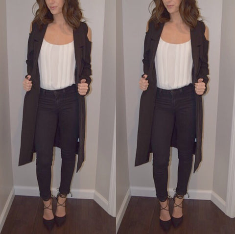 Cold shoulder blazer coat