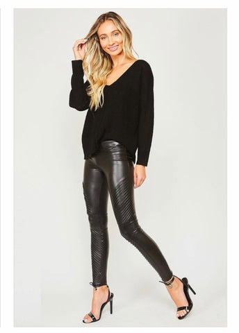 Skinny leg leather pants