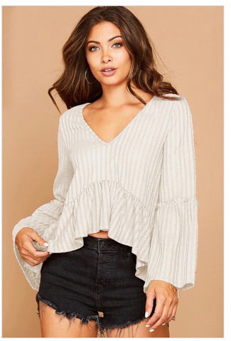 Ivory ribbed top with frill detailing