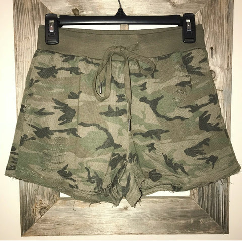 Distressed camo shorts