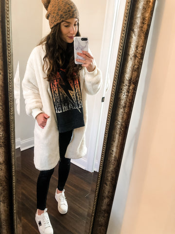 Ivory faux fur cardigan coat