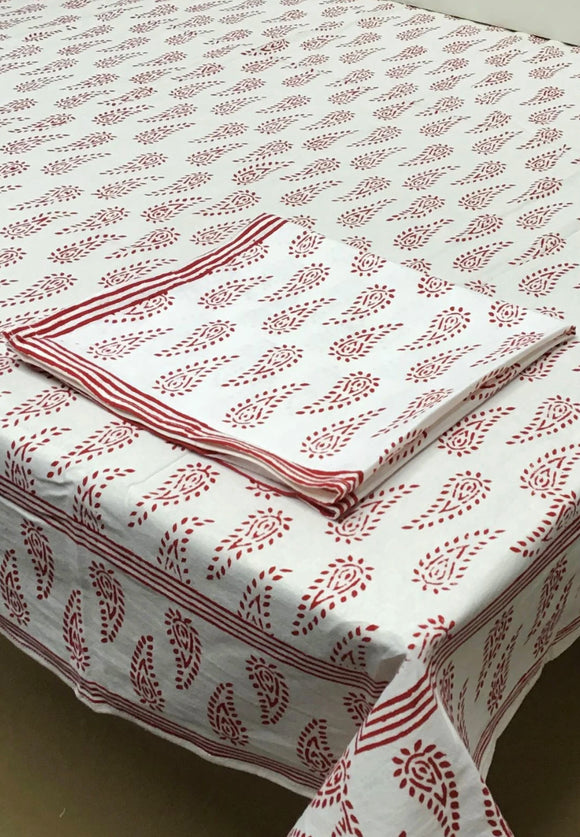 Abbey Paisley Hand Block Printed Tablecloths