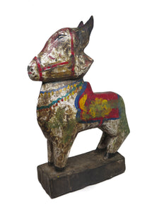 Painted Wooden Indian Temple Toy Bull