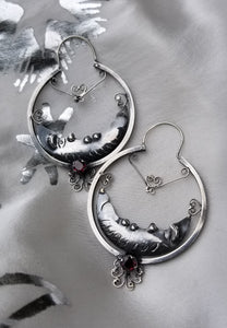 Sterling Silver Crescent Moon Hoops with Filagree and Garnet | Blue Jaguar