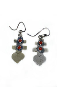 Sterling Silver Cross and Heart Mexican Earrings with Coral Beads | Blue Jaguar