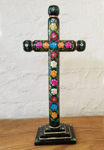 Hand Painted Mexican Floral Cross