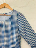 3/4 Sleeve Blue Checkered Dress