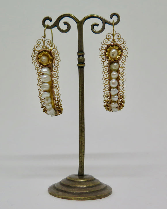 10kt Gold Mexican Gusano Earrings with Filigree and Pearls