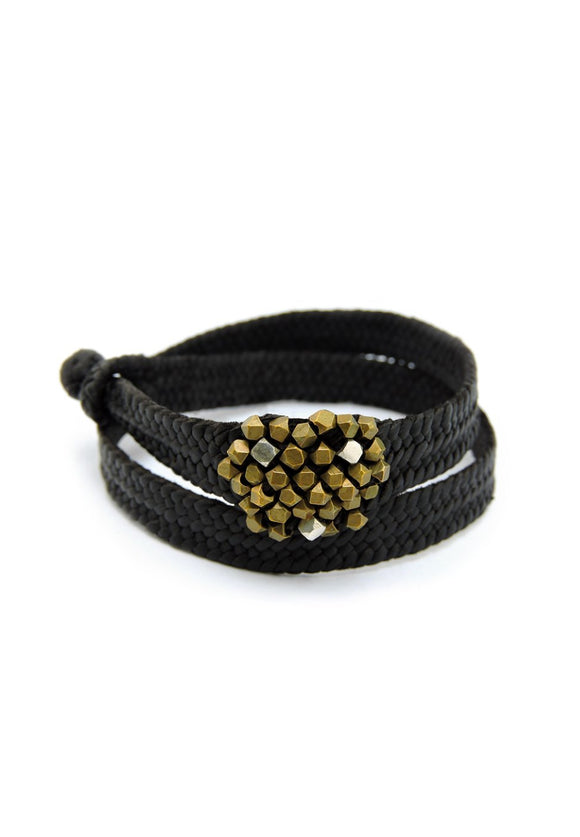Braided Leather Sputnik Bracelet with Silver & Brass Hill Tribe Beads | Ishi