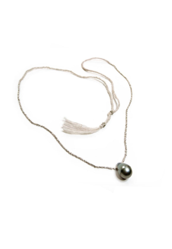 Large Baroque Pearl Necklace on Silk Chord | Ishi