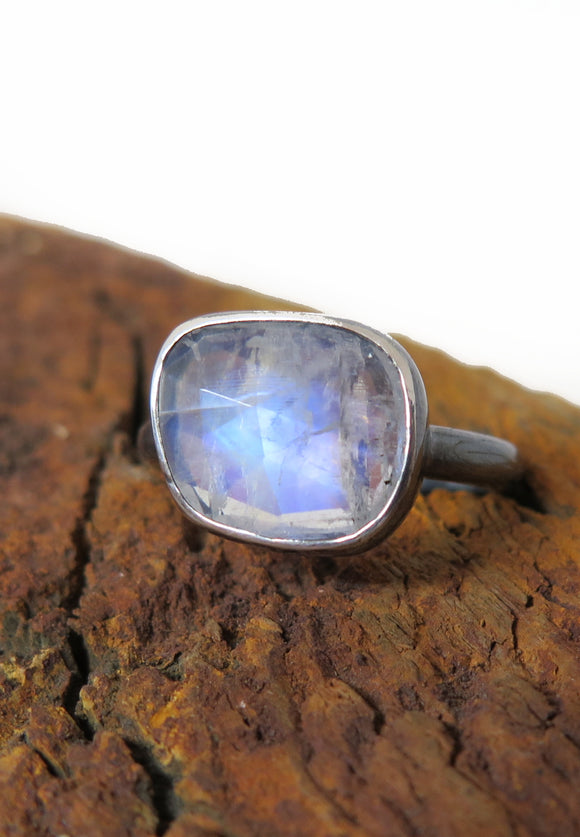 Ishi Rayado Faceted Moonstone and Sterling Silver Ring