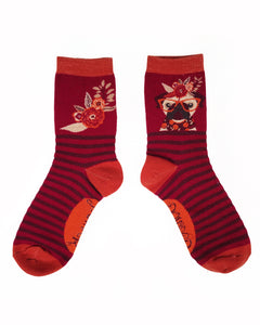 Floral Pug Ankle Socks | Powder