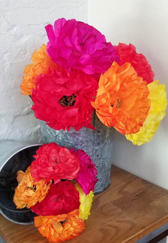 Bouquet of 6 Handmade Mexican Paper Flowers