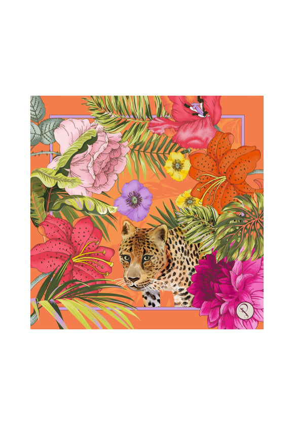 Blooming Jungle Satin Square Scarf | Powder