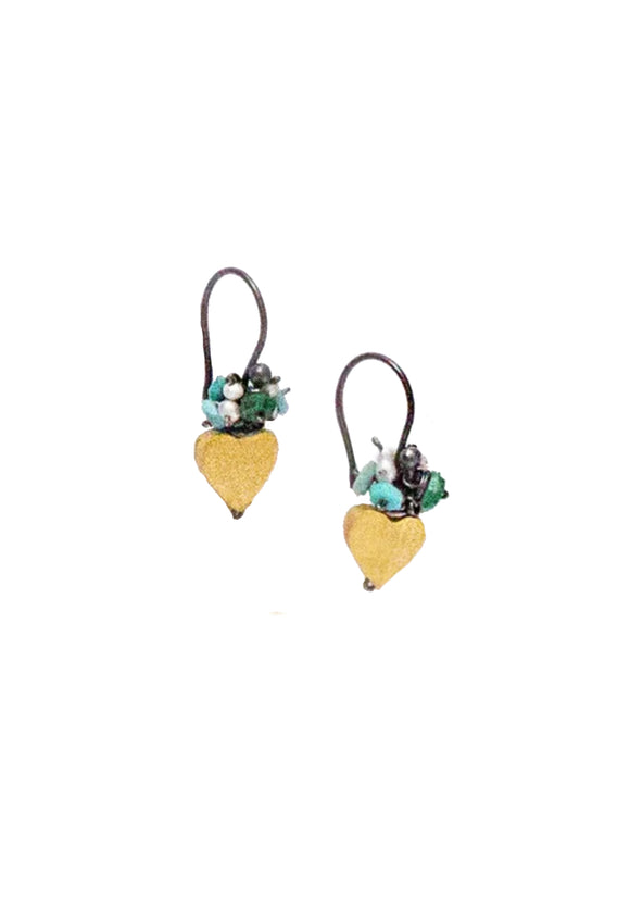 Golden Hearts with Turquoise & Pearl Fringe | River Song