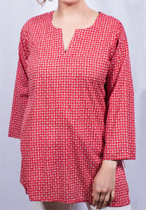 100% Cotton Kurti | Red Pink