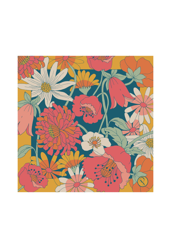 Retro Meadow Satin Square Scarf | Powder