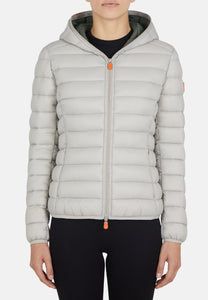 Save the Duck Women's Classic Hooded GIGA Jacket in Frost Gray