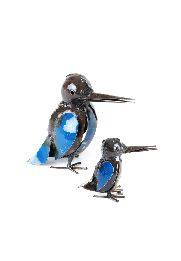 Recycled Blue Metal Malachite Kingfisher Bird Sculptures | Swahili
