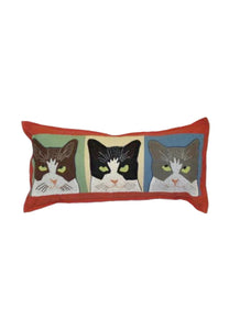 Tom, Dick & Harry Appliqué Pillow in Coral