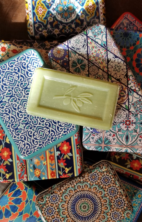 Turkish Olive Oil Bath Soaps in Assorted Rectangular Tin Boxes