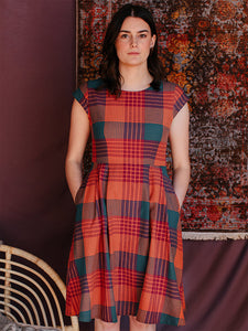 Devonshire Dress in Persimmon Plaid | Mata Traders