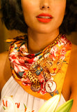 Leopard Floral Satin Square Scarf | Powder