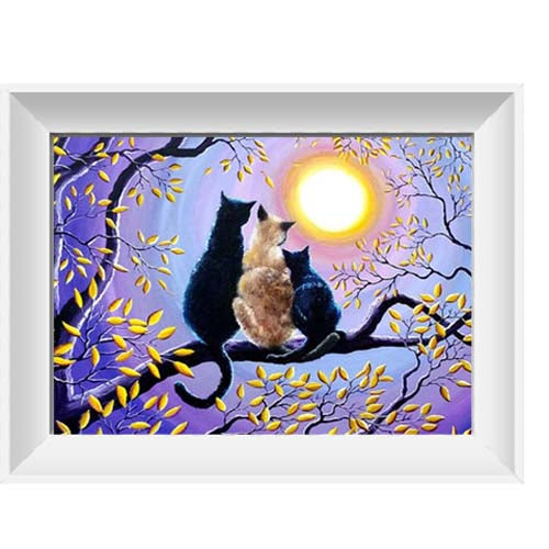 Diamond painting- Katten in een boom - 30*40cm