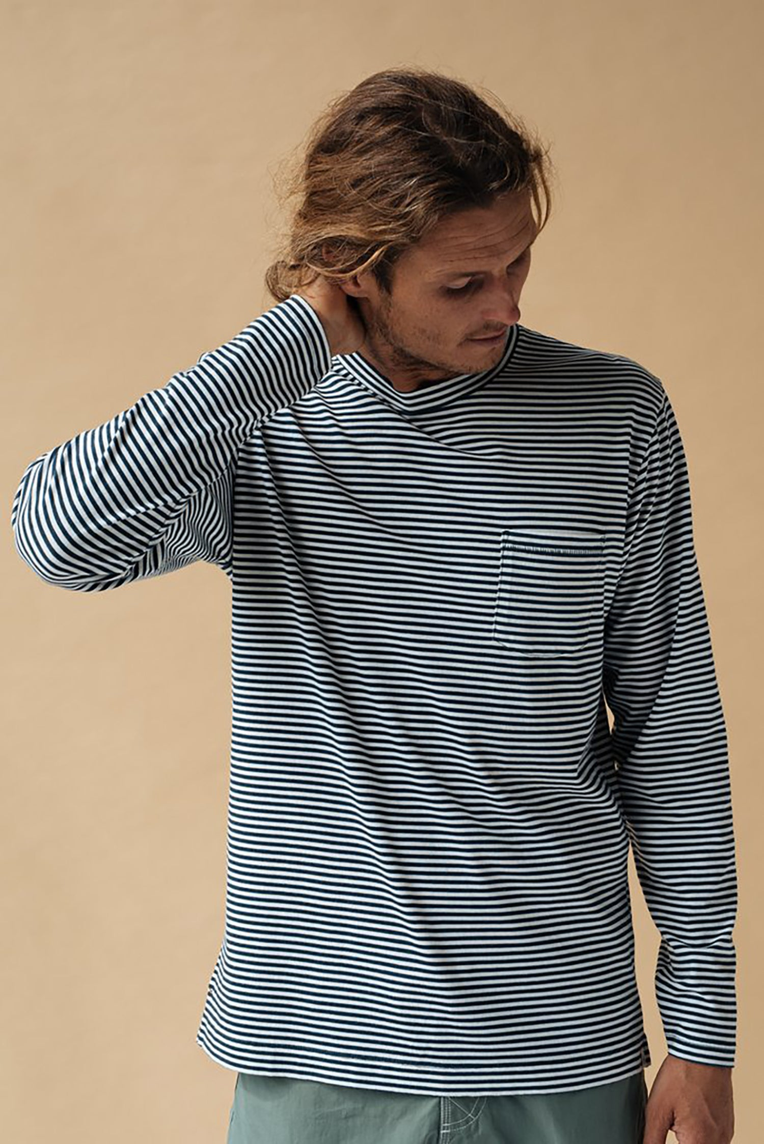 Sand Washed LS Stripe Tee - Atlantic